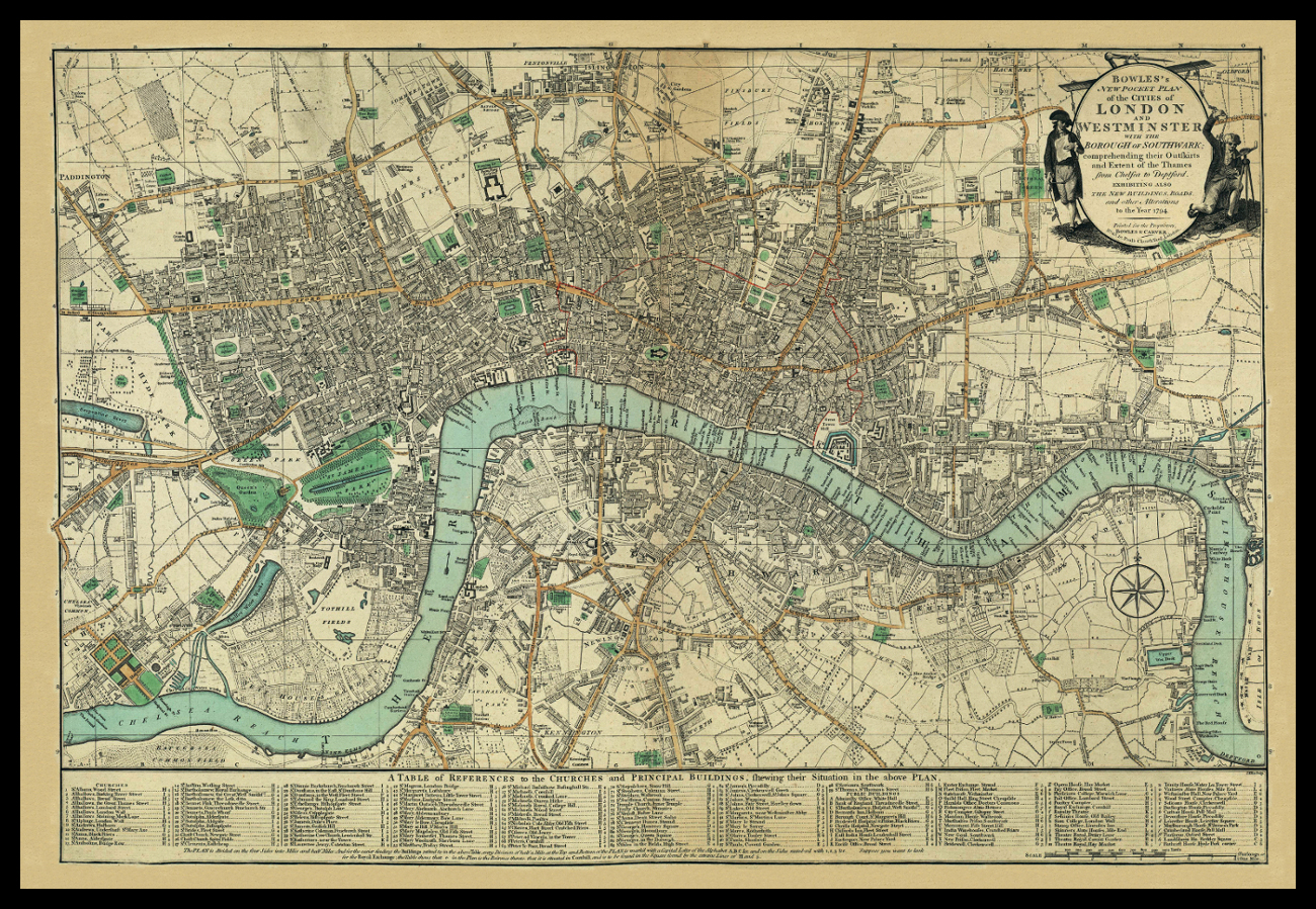 BOWLE'S MAP OF LONDON 1794