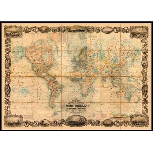 WORLD MAP 1857